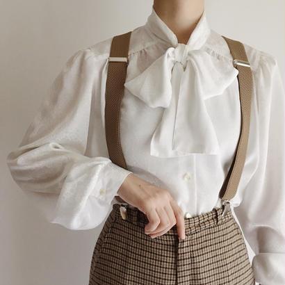 80's UK  Vintage Paisley Woven Pattern Ribbon Tie Blouse