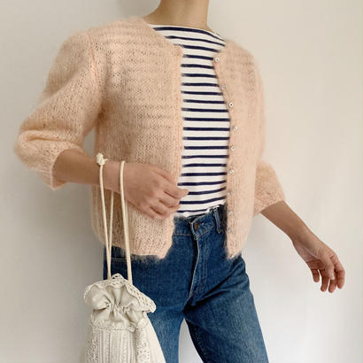 Euro Vintage Baby Pink Mohair  Knit Cardigan
