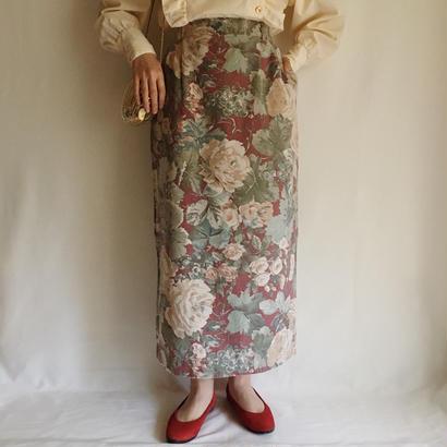USA flower print cotton long skirt