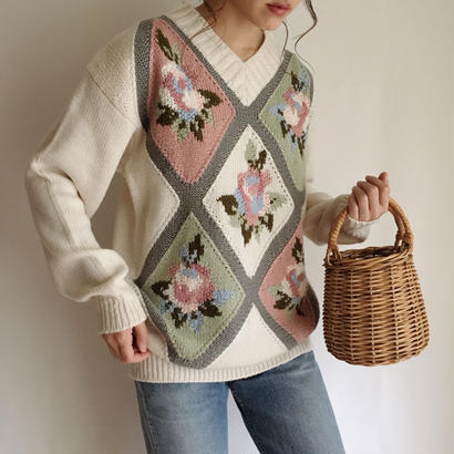 eurovintage flower × argyle knit sweater