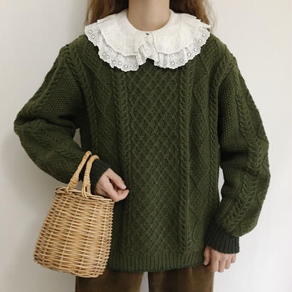 Euro Vintage Deep Green Cable Knit Sweater