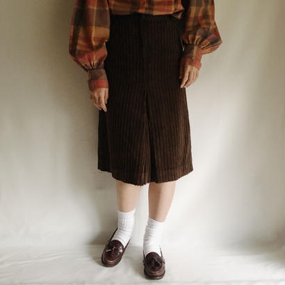 Euro Vintage Deep Brown Corduroy Flare Skirt