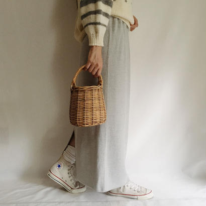 Euro Vintage Pale Gray Long Knit Skirt