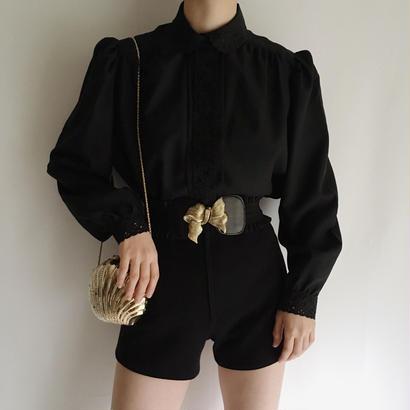 Euro Vintage Black lace design blouse