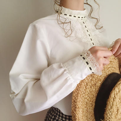 eurovintage lace design stand collar  blouse