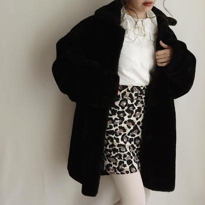 eurovintage over silhouette volume fake fur coat