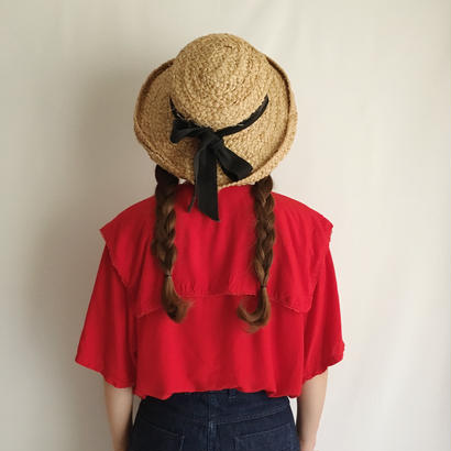 Euro Vintage Sailor Collar Over Silhouette Blouse