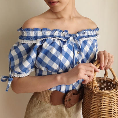 eurovintage  gingham check blouse
