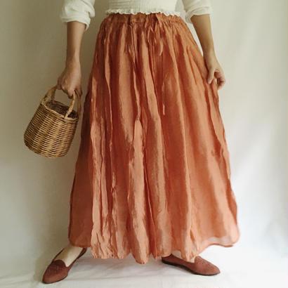 India Wrinkled Flare Long Skirt
