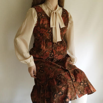 U.K. Vintage Floral Printed Corduroy Dress