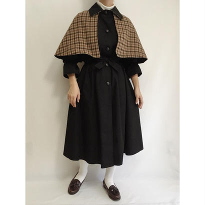 70s - 80s Euro Vintage Black  Long Coat With Cape