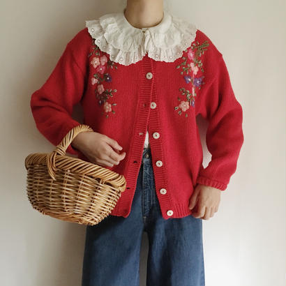 eurovintage  flower embroidery knit cardigan
