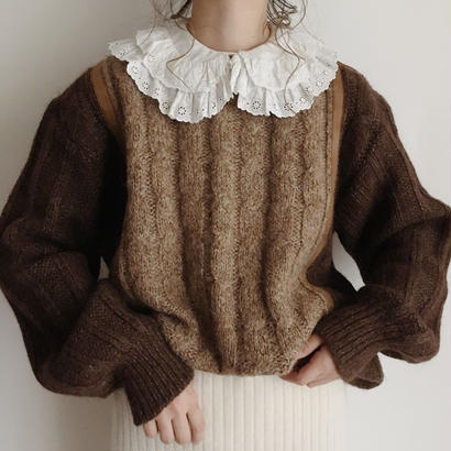 eurovintage 2tone brown knit sweater