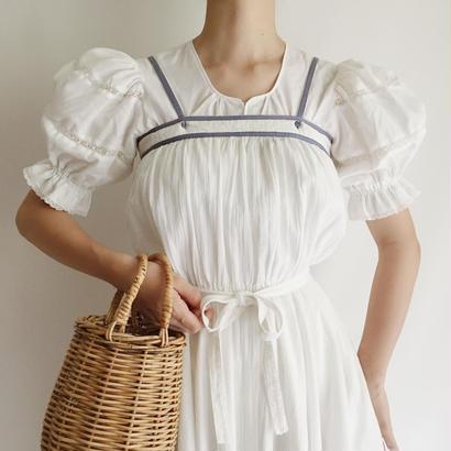 Dasky Blue Line Cotton Gaze Flare Camisole Dress