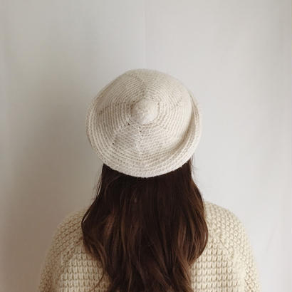off white pom pom knit beret
