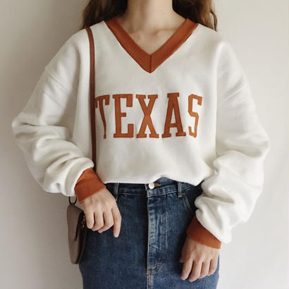 "80's USA  Two Tone "" TEXAS "" Big Logo Sweat"