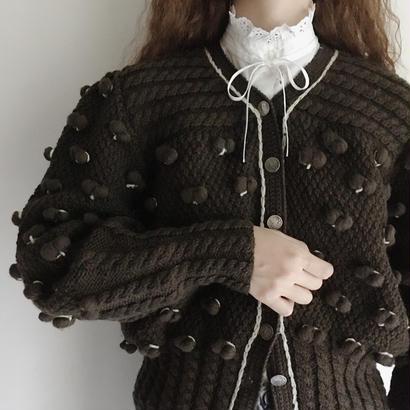 Euro Vintage Popcorn Volume Sleeve Knit Cardigan