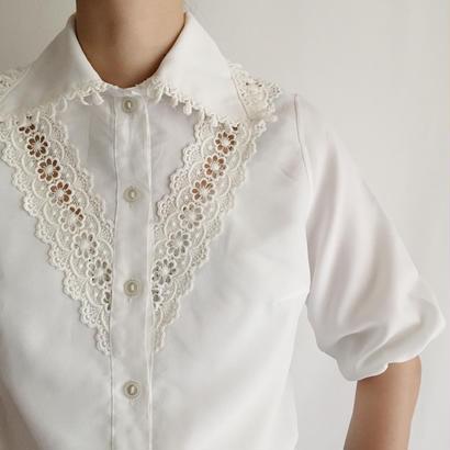 Euro Vintage Flower Lace Design Short Sleeve Blouse