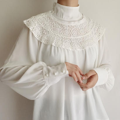 Euro Vintage Stand Collar Smock Blouse