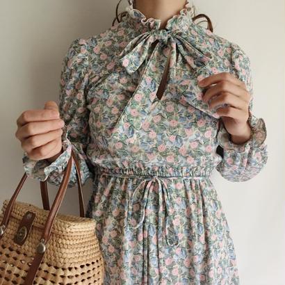 USA flower print ribbon design flare dress
