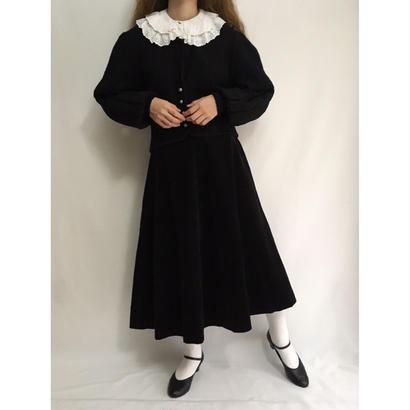 Euro Vintage Black Corduroy Circular Skirt