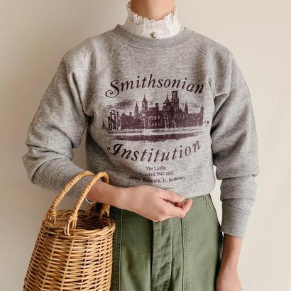 "USA 80's ""Smithsonian Institution "" Logo Print Sweat Shirt"