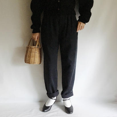 Euro Vintage Black Three Tuck Tapered Pants