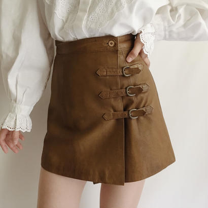 Euro Vintage Leather Mini Skirt