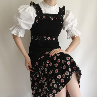 Euro  Vintage Flower × Dot corduroy dress