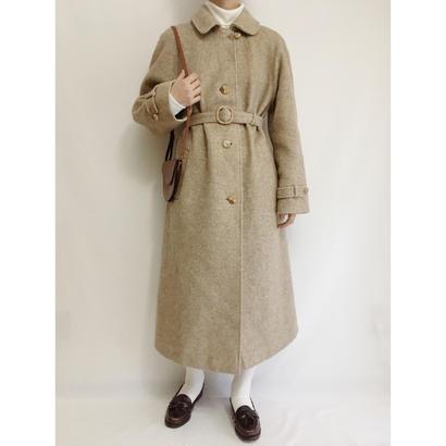 Euro Vintage Beige Round Collar Wool Long Coat