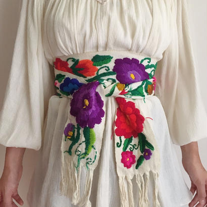 mexico flower embroidery sush belt
