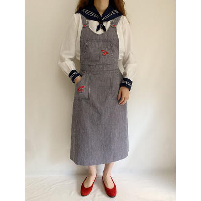 70's - 80's Euro Vintage Hickory Stripes Jumper Skirt