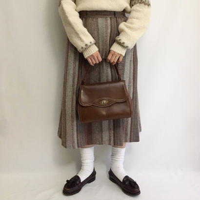 Euro Vintage Brown Mix Striped Flare Skirt