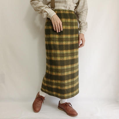 Euro  Vintage Brushed Check  Long Skirt