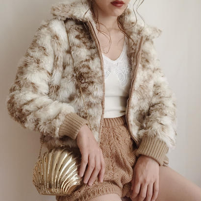 mix color fake fur volume short jacket
