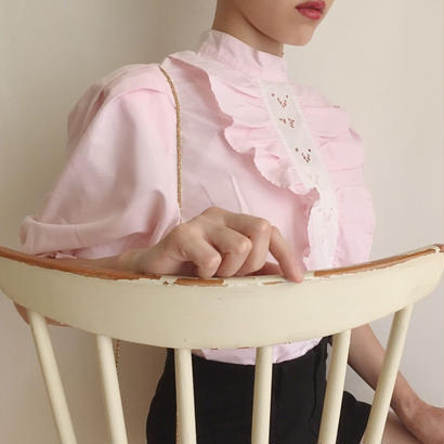 eurovintage  pink frill lace  blouse