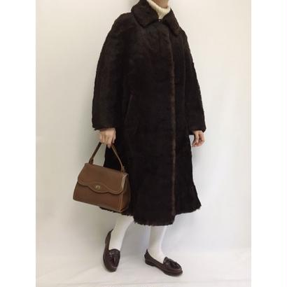 Euro Vintage Dark Brown Faux Fur Long Coat