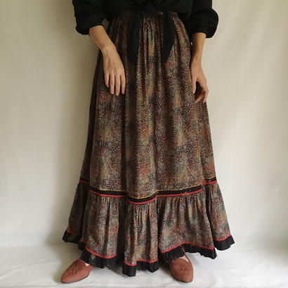 Euro Vintage Mosaic Flower Print Folk Flare Long Dress
