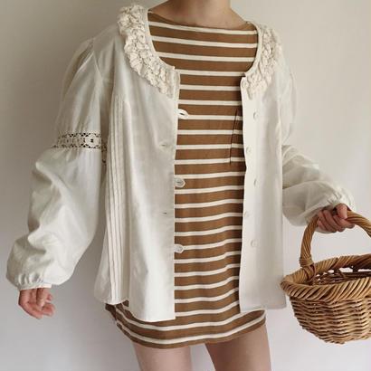 Euro Vintage Cotton Linen Knit Lace Volume Sleeve Blouse