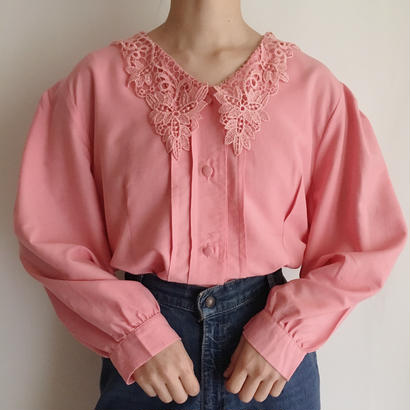 eurovintage pink lace collar volume sleeve blouse
