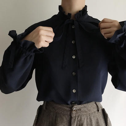 Euro Vintage Stand Collar Ribbon Design Blouse