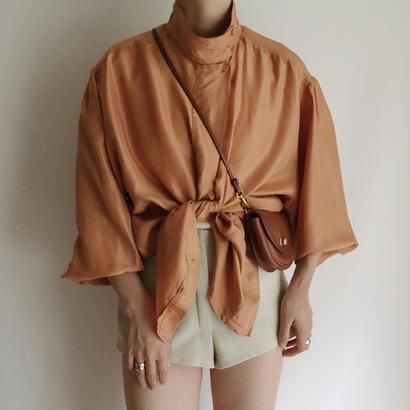 Euro Vintage Over Silhouette Silk Shirt