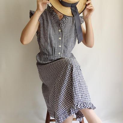 Euro Vintage Gingham Check Sleeveress Dress
