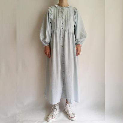 Light Blue  lace collar night long dress