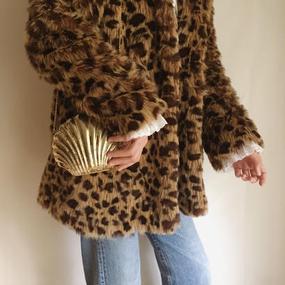 fake fur leopard A line coat