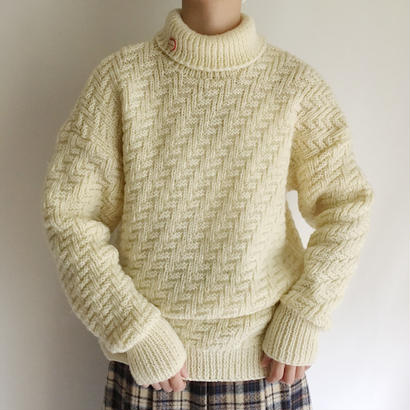 Euro Vintage Turtle Neck Hand Knit Sweater