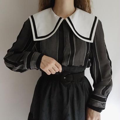 Euro Vintage Puritan Collar Stripes Bicolor Blouse