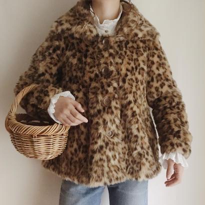 fake fur leopard A line coat
