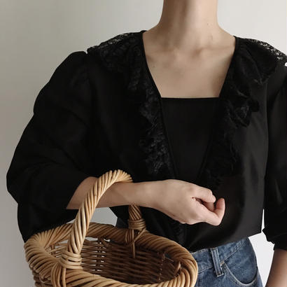 Euro Vintage Pleats Lace Frill Sheer Blouse