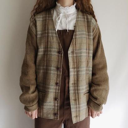 90's Euro Vintage Plaid Wool Sports Jacket